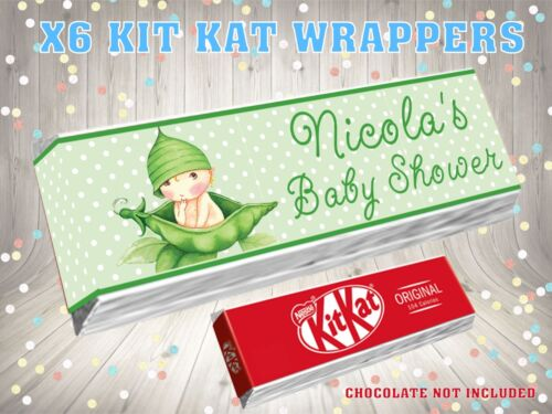 PERSONALISED BABY SHOWER PEA Kit Kat Label Wrappers Ideal Party Bag