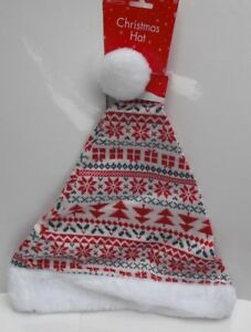 Unisex-Christmas-Hat-Inspired-Fair-Isle-Pattern-Knitted-Santa-Hat-with-Bobble
