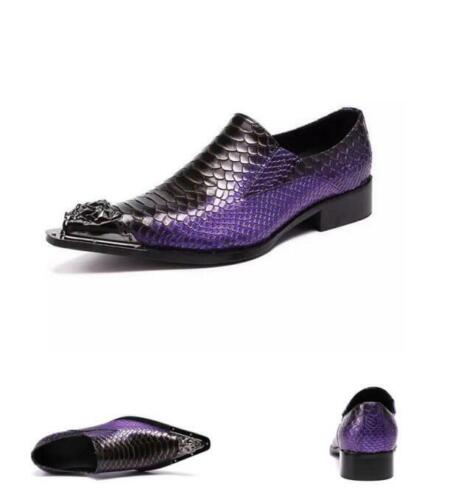 Mens Metal Pointy Toe Casual Business Wedding Leather Slip On Nightclub Shoes SZ