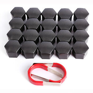 Senzeal 20pcs 19mm Universal Hex Wheel Lug Nut Bolt Cover Cap Wheel Nut Protector Cap for Cars with Removal Tool Black