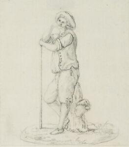 Der-laechelnde-Hirte-19-Jhd-Bleistiftzeichnung