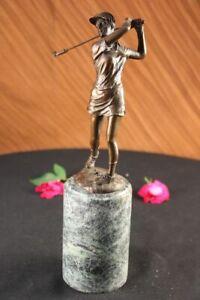 Real-Female-Golfer-Golf-Sport-Bronze-Statue-Sculpture-Figurine-Figure-Decor-Deal