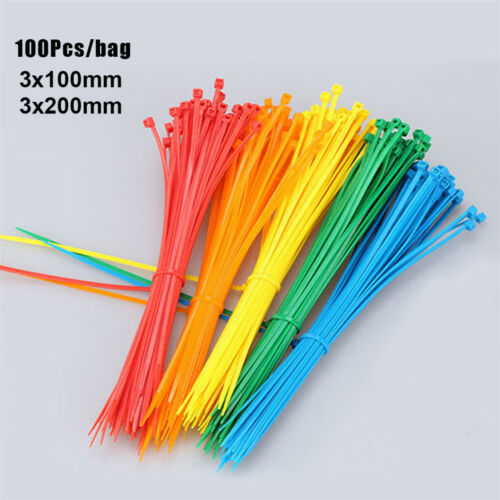 100Pcs Durable Line Finishing Cord Strap Self-Locking Zip Nylon Cable Ties Wire