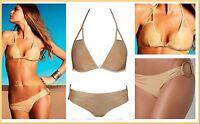 $180 Vitamin A 24k Gold Keyhole Triangle Top & Ring Bottom Swimsuit Bikini Set