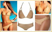 $180 Vitamin A 24k Gold Keyhole Triangle Top & Ring Bottom Swimsuit Bikini Set