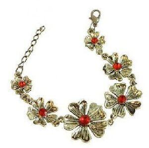Blumen-Armband-Trachtenschmuck-Vintage-Tracht-Strass-rot-Kette-bronze-farbig