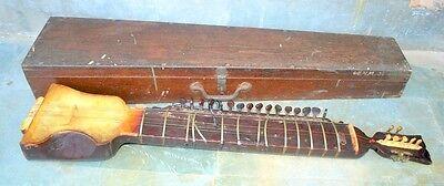 Old Antique Indian Music Instrument Dilruba String Esraj Sitar Guitar With Box