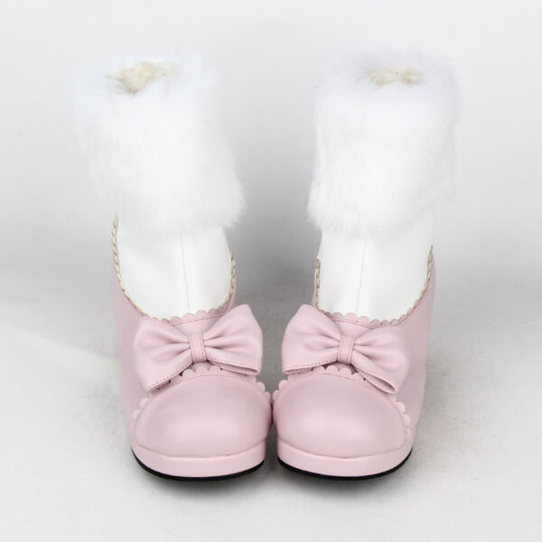 New Sweet Bow Lolita Tea Party Badydoll Winter Ankle Stiefel Rabbit wool 8563-4.5