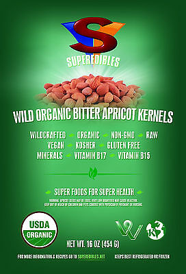 Organic Bitter Apricot Kernels, Wild 1 Pound Pouch Ships Free Certified Organic