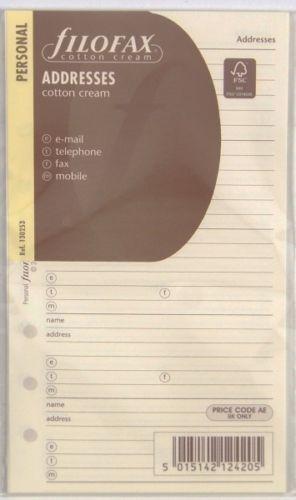 Filofax Einlage Personal Adressblätter cotton cream 130253