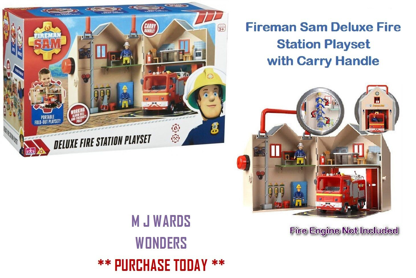 Fireman Sam Deluxe Fire Station Playset with Carry Handle