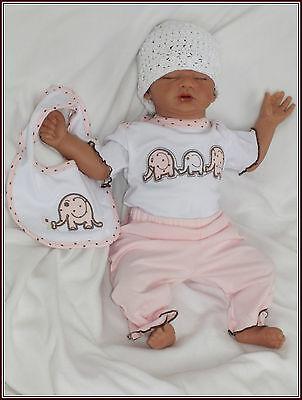 3Tlg Baby 100% Baumwolle TOP 3-er SET Rosa Elefanten gr 56 62 68 74 Englandmode