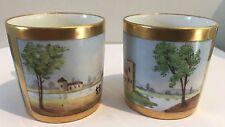 Paire d'anciennes tasses litron en porcelaine de Paris? décor de paysages