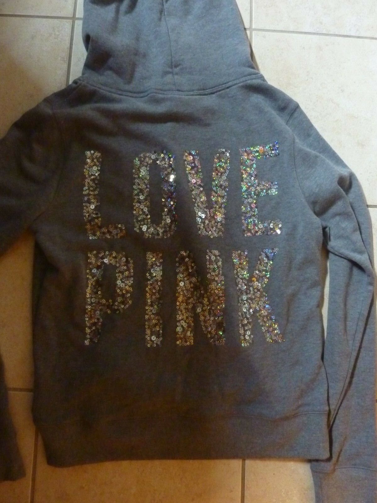 VICTORIAS SECRET PINK BLING TWO TONE gold SEQUIN DOG HOODIE CHOICE NWT