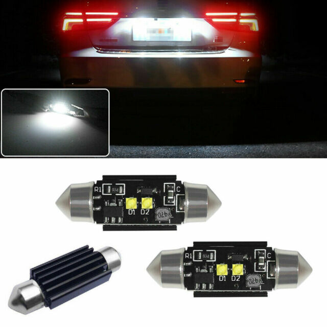"2Pcs Xenon White 3-SMD 1.50/"" 36mm 6418 C5W LED Bulbs For Car License Plate Light"