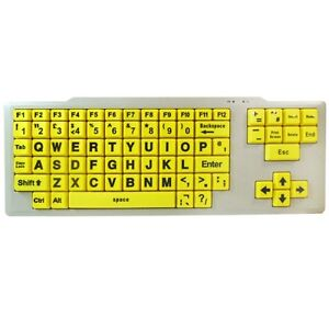 VISUALLY IMPAIRED SPECIAL NEEDS KEYBOARD XL LARGE YELLOW