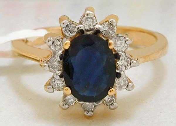 Natural 1.95 Cts bluee Sapphire & Diamonds Ring 14k  FREE SHIPPING & APPRAISAL