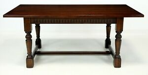 Details About Old Charm Solid Oak Dining Table Tudor Brown Ex Con Free Uk Delivery