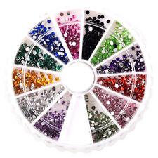 2400 x 1mm & 2mm Round Nail Art Rhinestone Wheel Kit LW