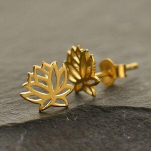 Gold-Vermeil-Tiny-Small-Open-Lotus-Flower-Yoga-Studs-Stud-Post-Earrings