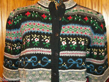 Susan Bristol Hand Embroidered button Cardigan sz Med womens Black/multi sweater