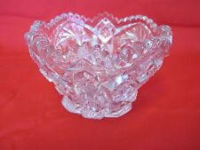 """""""ARTCUT"""" ETCHED 5"""" ROUND PRESSED GLASS SAWTOOH PINWHEEL AND HOBSTAR BOWL-marked"""