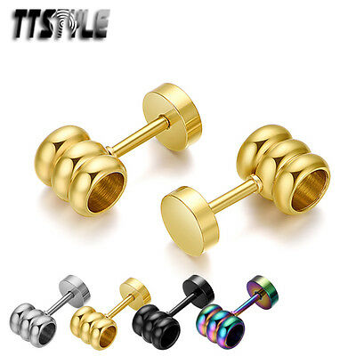 TTstyle 10mm Round Ying/&Yang Black Stainless Steel Fake Ear Plug Earrings A Pair