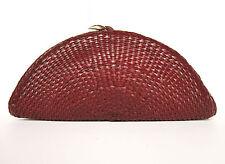 DE VECCHI by HAMILTON HODGE ITALY woven leather semi-circle large clutch VTG
