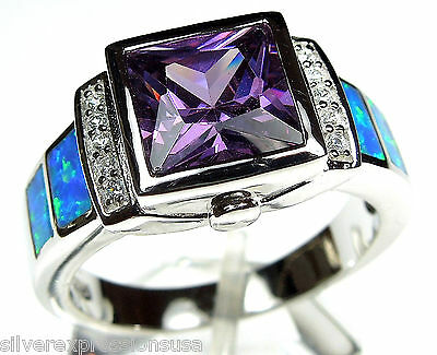 Amethyst & Blue Fire Opal Inlay 925 Sterling Silver Men's, Woman Ring Sz 6-9