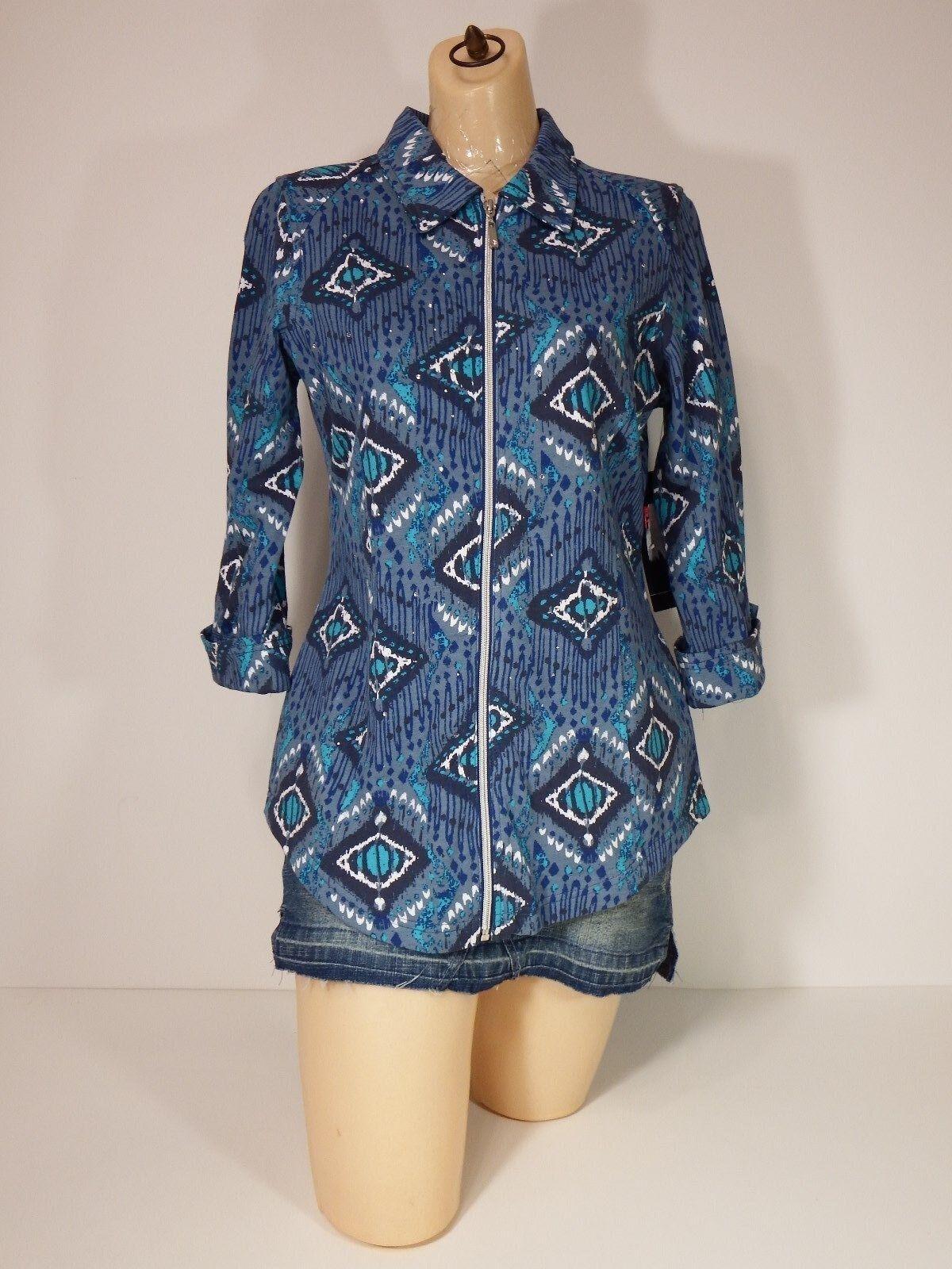 Shirt Top small Three Hearts Rhinestone Zip Up 3 4 Sleeve bluee  Juniors  Small S