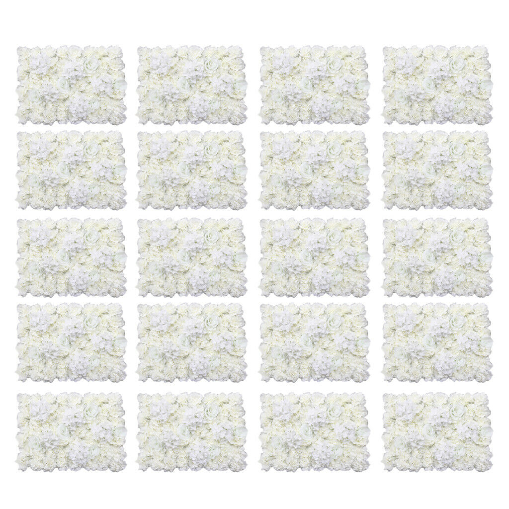20pcs Simulation Blossom Silk Flower Wall Panels 40 x 60 cm Cream