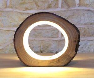 Lampe à poser en bois lampe de bureau à poser led lampe bûche led