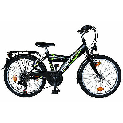 Delta Kinderfahrrad 20 Zoll Fahrrad 6 Gang Shimano StVZO schwarz/grün 446
