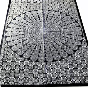 tagesdecke dekotuch mandala schwarz weiss bett berwurf baumwolle cotton 140x200 ebay. Black Bedroom Furniture Sets. Home Design Ideas
