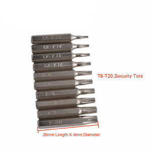 10pcs Cr-V Torx Bit Driver Set T6-T20 Sécurité Torx T3 T4 T5 T6 T7 T8 T9 T10 T15
