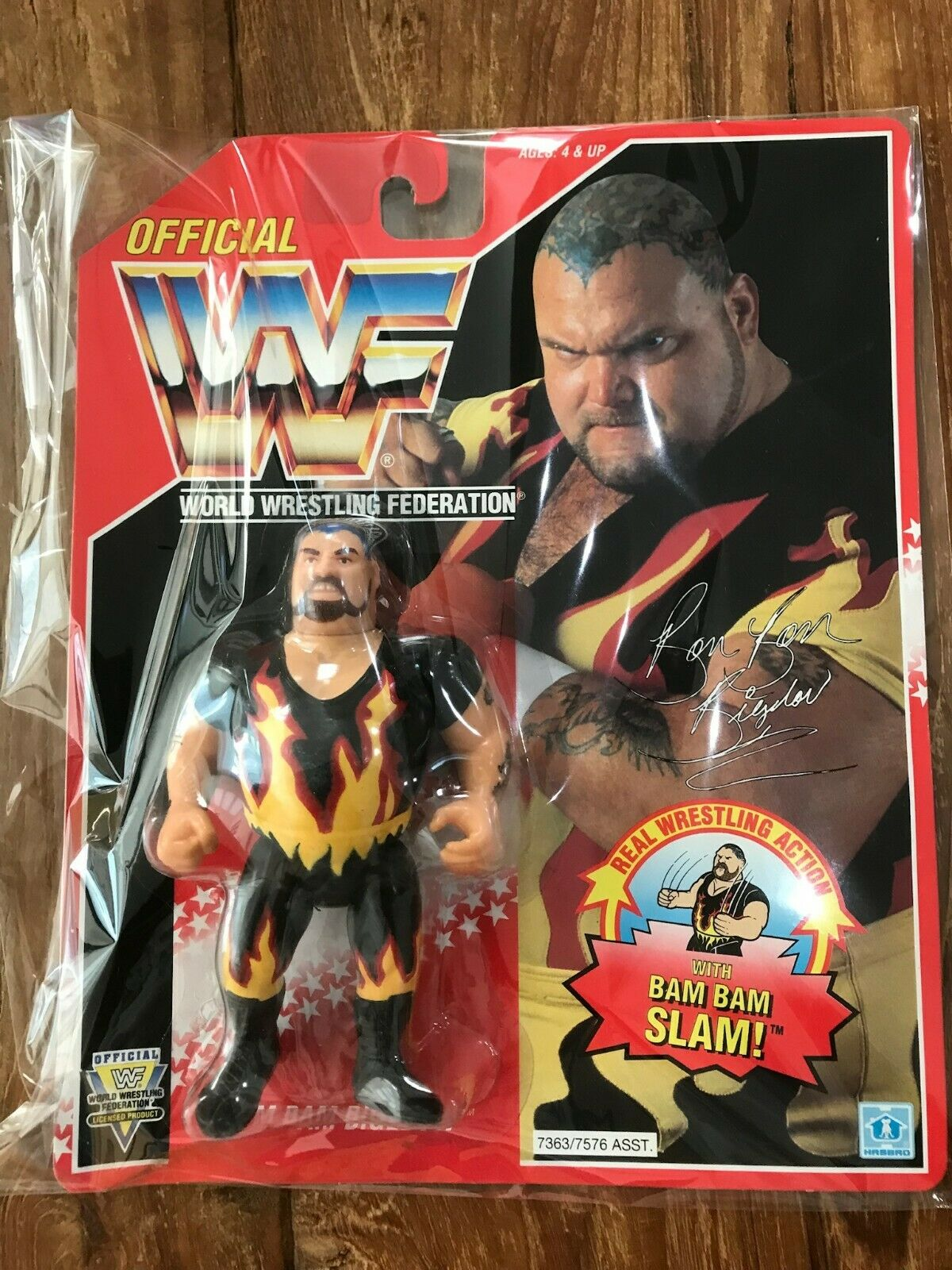 Hasbro Official cifra WWF WWE Bam Bam greeelow Wrestling 1994 rosso autod Vintage