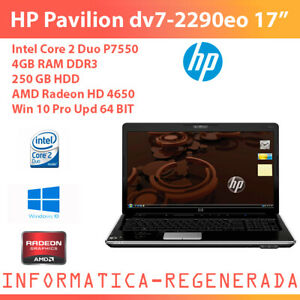 HP-Pavilion-dv7-2290eo-Core2DuoP7550-4gbDDR3-250gbHDD-AMDRadeonHD4650-W10ProUpd