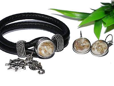 Muscheln MARITIM Armband Ohrringe Set I UNIKAT Brisur silber Button Druckknopf