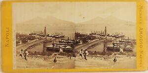 Amodio-Italia-Napoli-Vista-Del-Port-E-Vesuvio-Foto-Stereo-Vintage-Albumina