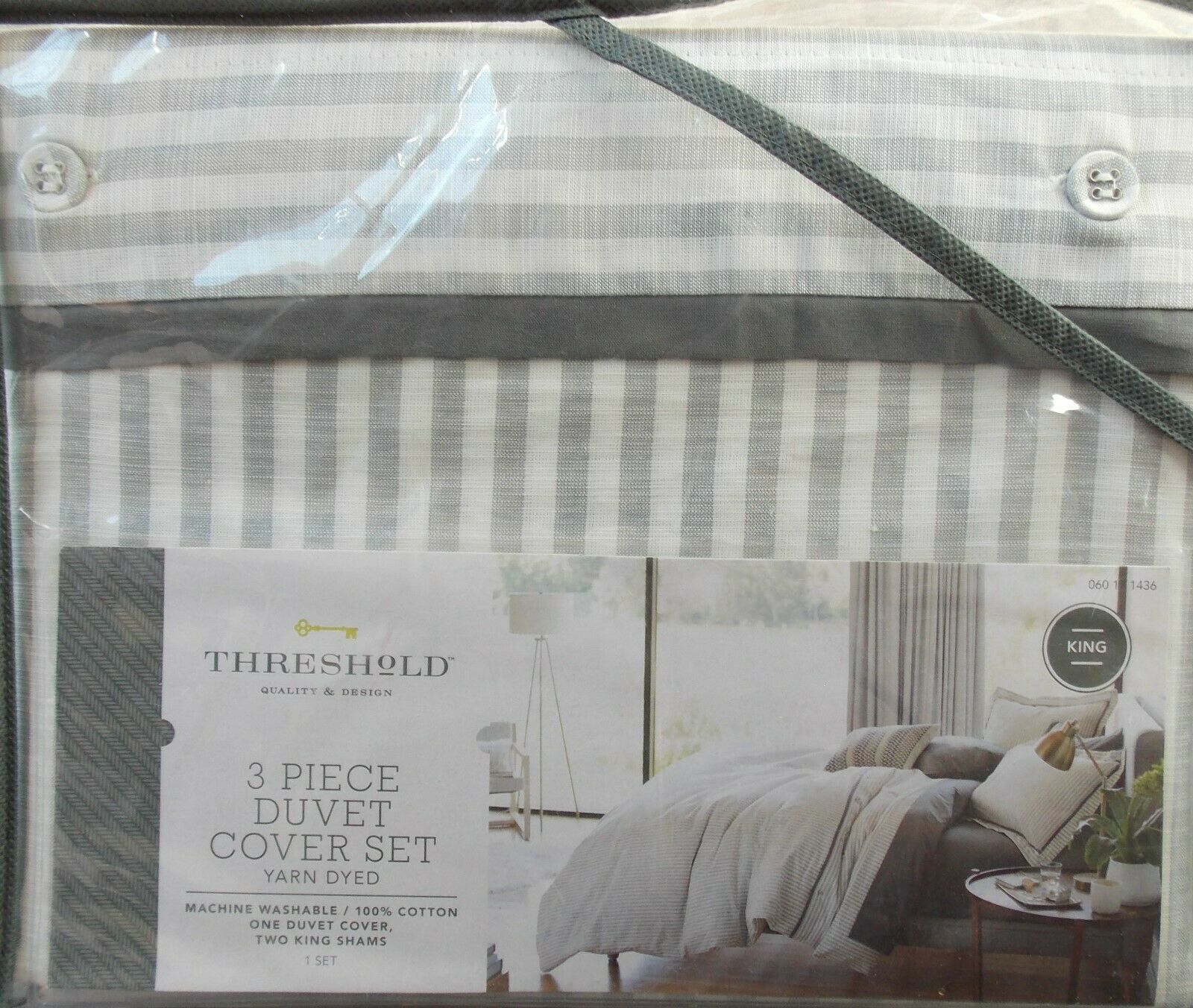 Threshold Grey Stripe Duvet Cover + Sham Set  NEW King