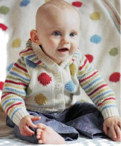 Knitting Pattern Baby/'s Cute DK Spots /& Stripes Jacket /& Blanket Ages 3-18 mths