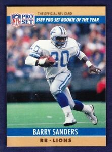 Details About 1989 Pro Set Rookie Of The Year Barry Sanders Blank Reverse Error Card