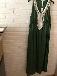 New-NY-Collection-Woman-039-s-Sleeveless-Embellished-Maxi-Dress-Green-1XP-X22