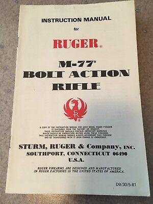 Vintage Original Ruger M77  Owners Manual Dated 1974