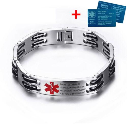 """Identificador de alerta médica de emergencia Acero Inoxidable 8.7/"""" Pulsera con tarjeta de identificación de aluminio"""