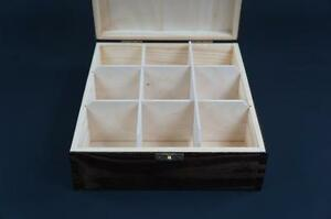 1x Brown Wooden Tea Box Tea Caddy Kitchen Chest 9 Compartments Storage H9b