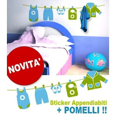 Coraggioso 00194 Wall Stickers Cameretta Bimbo Appendiabiti Panni 150x36 Cm