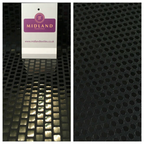 """Sequin noir spandex lycra stretch robe dancewear tissu large 58/"""" M84 Mtex"""