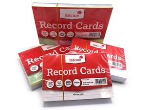 Revision-Flash-Index-Silvine-Record-Cards-White-Ruled-Coloured-FREE-P-amp-P