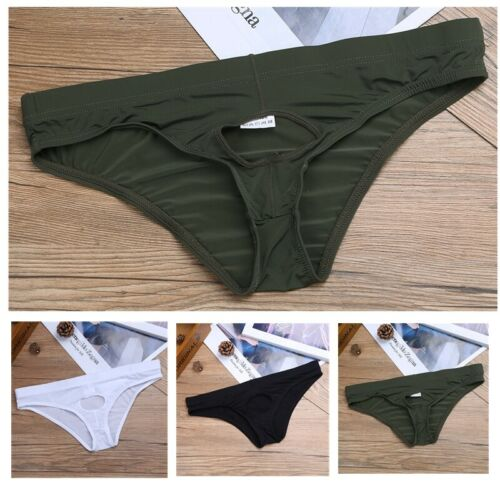 Mens Front Hole Briefs Underwear Ice Silk G-string Bikini Thong Underpants M-2XL